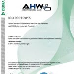Zertifizierungsurkunde deutsch Stahlrohrhandel AHW Rohrhandel GmbH Moderne Distribution von Stahl